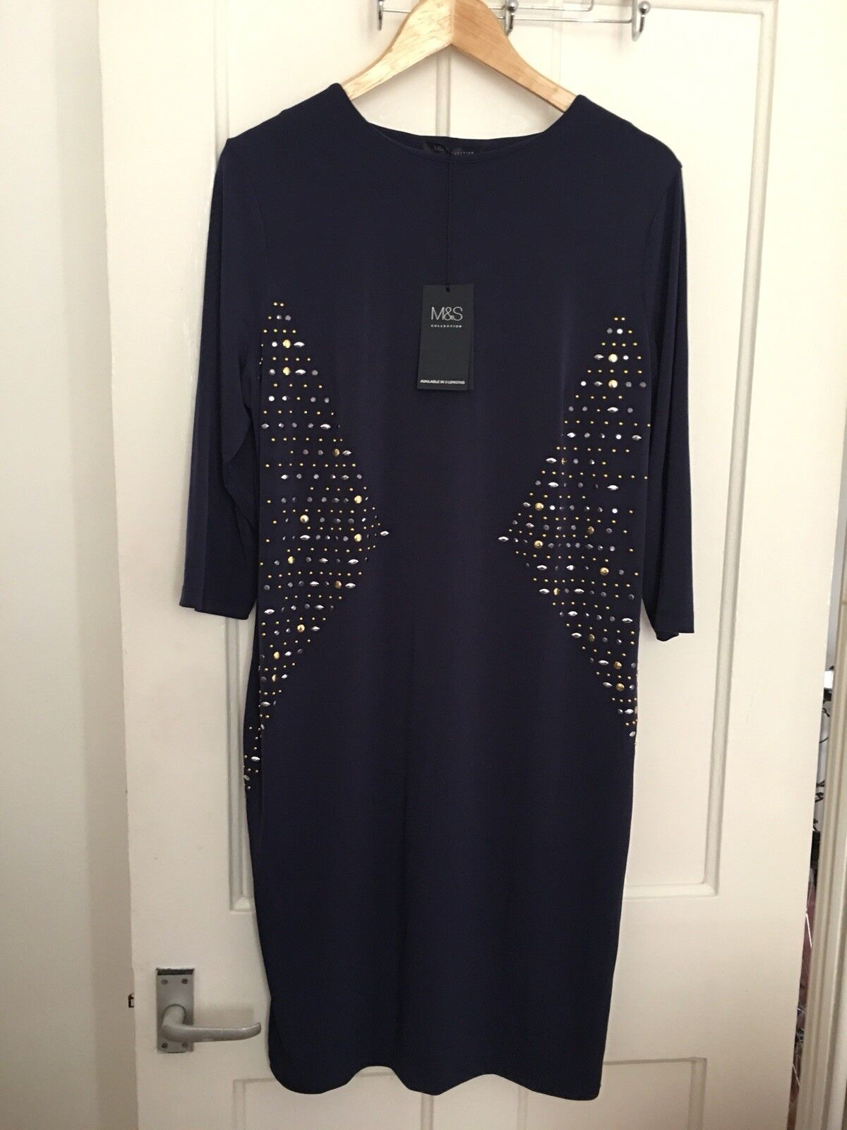 BNWT Size 18 Short Marks and Spencer bluee Stretch Embellished Dress (12)