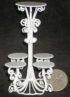Town Square Miniatures Victorian White Wire Multi Planter Stand Dollhouse Miniature - EIWF242 Toys
