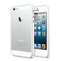 Iphone 5 Solid White Bumper Case W/ Metal Buttons Tpu W/ Rubber Apple Style