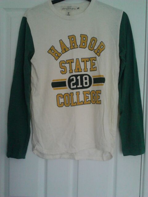 H&M LOGG MENS CREAM GREEN & YELLOW LONG SLEEVED T SHIRT - COLLEGE MOTIF SIZE S
