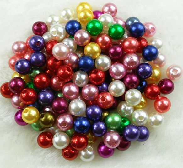 6mm 8mm 10mm Quality Mixed Color Acrylic Round Pearl Spacer Loose Beads