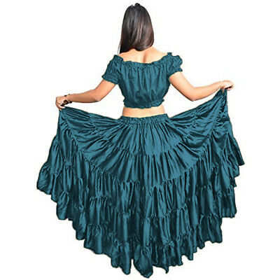 TURQUOISE Women Gypsy 32 Yard Skirt 5 Tiered Tribal Belly Dance Skirt ATS JUPE
