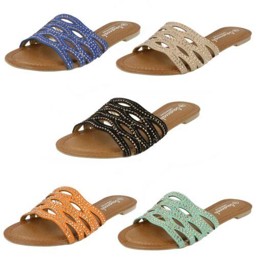 Blue or Coral R4B Savannah Ladies Mules Sandals F0R760 Green