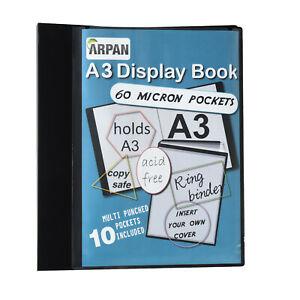 10 Acid Free Sleeves Black A3 Portrait 4D Presentation Ring Binder 50mm Spine