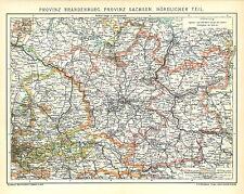 Alte Landkarte 1901: Provinz Brandenburg. Provinz Sachsen Nördlicher Teil (B14RA