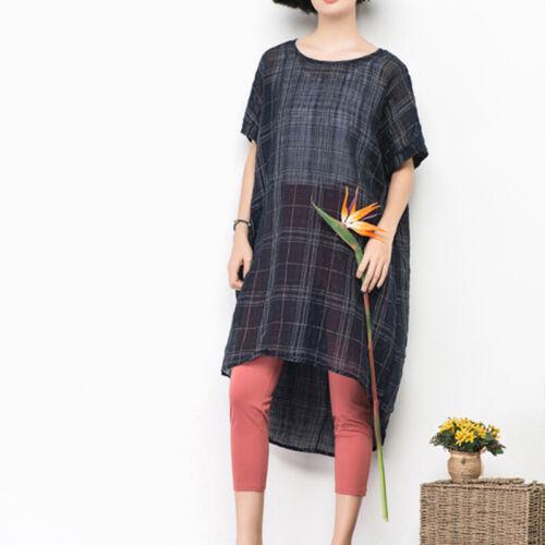 UK 8-24 Women Short Sleeve Plaid Check Tunic Baggy Pullover Summer T Shirt Dress