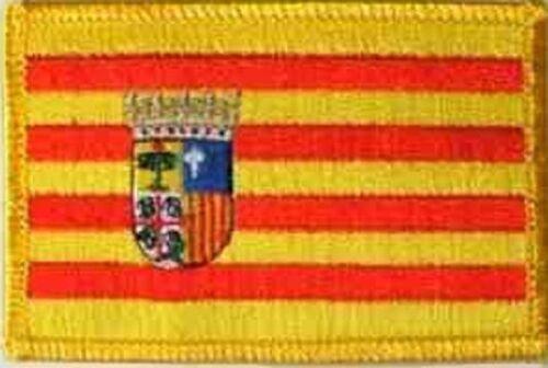 Ricamate Aragona Spagna Bandiera Bandiera aufbügler Patch 8 x 5 cm