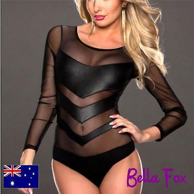 Sexy Bodice Lace Body Suit Black Teddy Leotard Underwear Sexy Lingerie Sheer Top