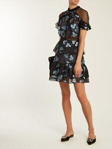 b417a871b770a Self-Portrait Open-back floral fil coupé mini dress Size US 0 UK 4 ...