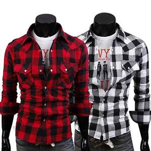 New mens slim fit casual dress plaid check shirt korean for Mens black plaid dress shirt