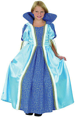 GIRLS BLUE TUDOR MEDIEVAL QUEEN PRINCESS FANCY DRESS COSTUME  OUTFIT 4-6-8-10