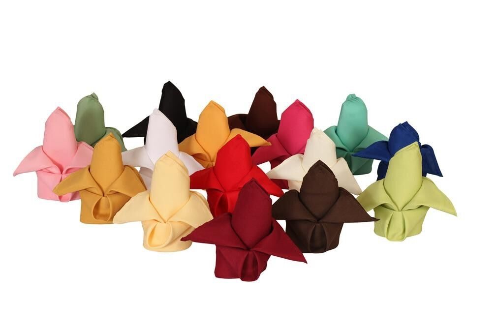 250 Polyester Serviettes 20  X 20  Made USA Mariage Fête Event Catering 23 couleurs