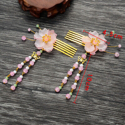 2Pcs Flower Tassel Beads Hair Combs Clip Hairpin Wedding Party Accessories
