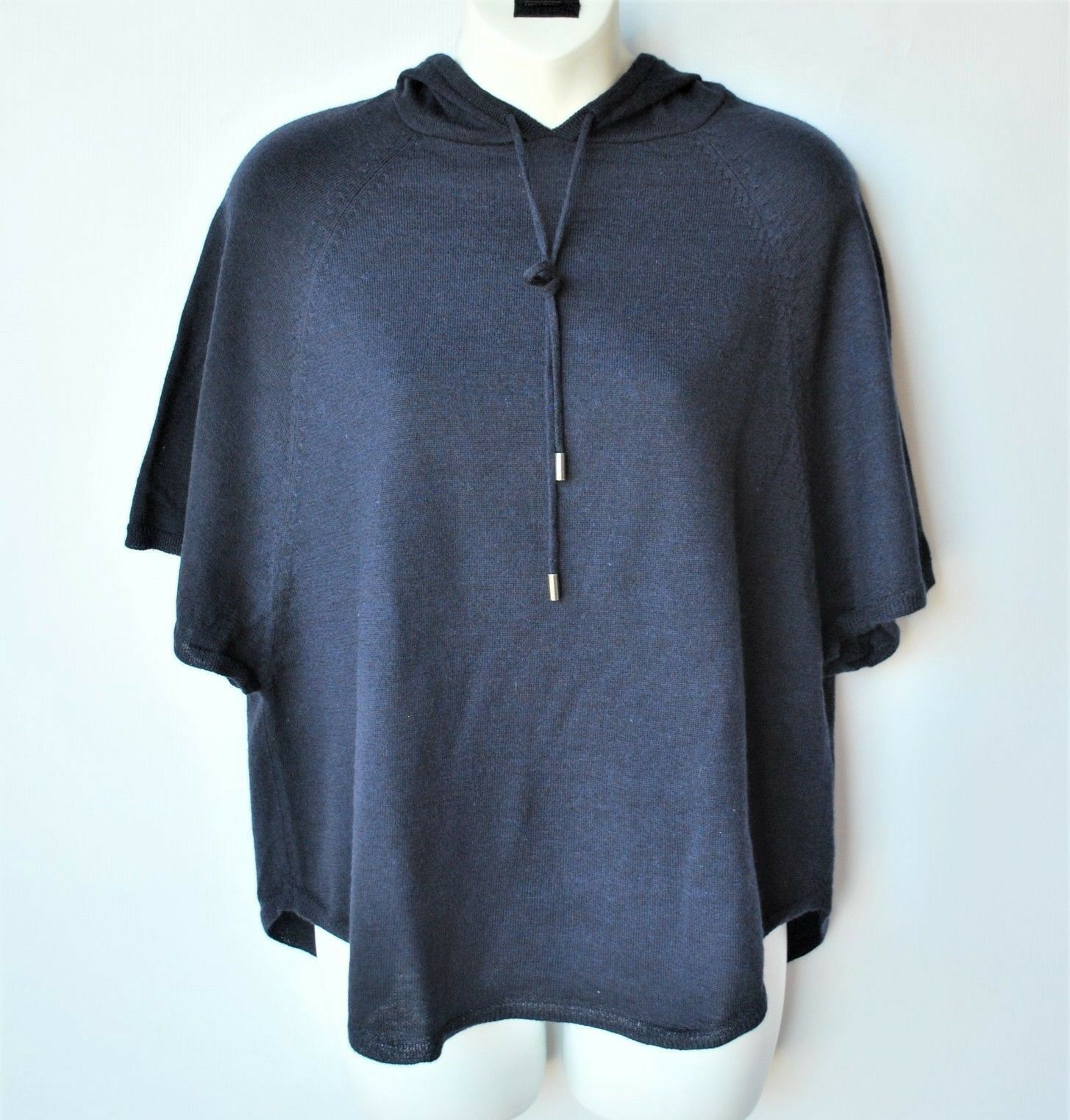 Women's Joie Navy bluee Hooded Poncho Batwing Sweater Merino Wool XS
