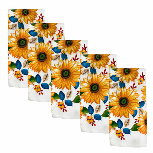 Kitchen Collection 5-Piece Sunflower Fest Towel Set 15x25 Inches Multi