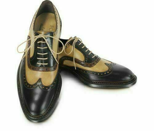 Homme Fait à la main Chaussures Noir, Beige & marron Lacer Oxford Formel Robe Bottes Décontractées