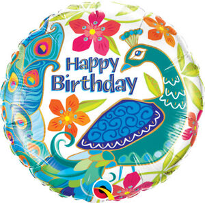 BIRTHDAY-BALLOON-18-034-BIRTHDAY-PEACOCK-PARTY-SUPPLIES-QUALATEX-FOIL-BALLOON