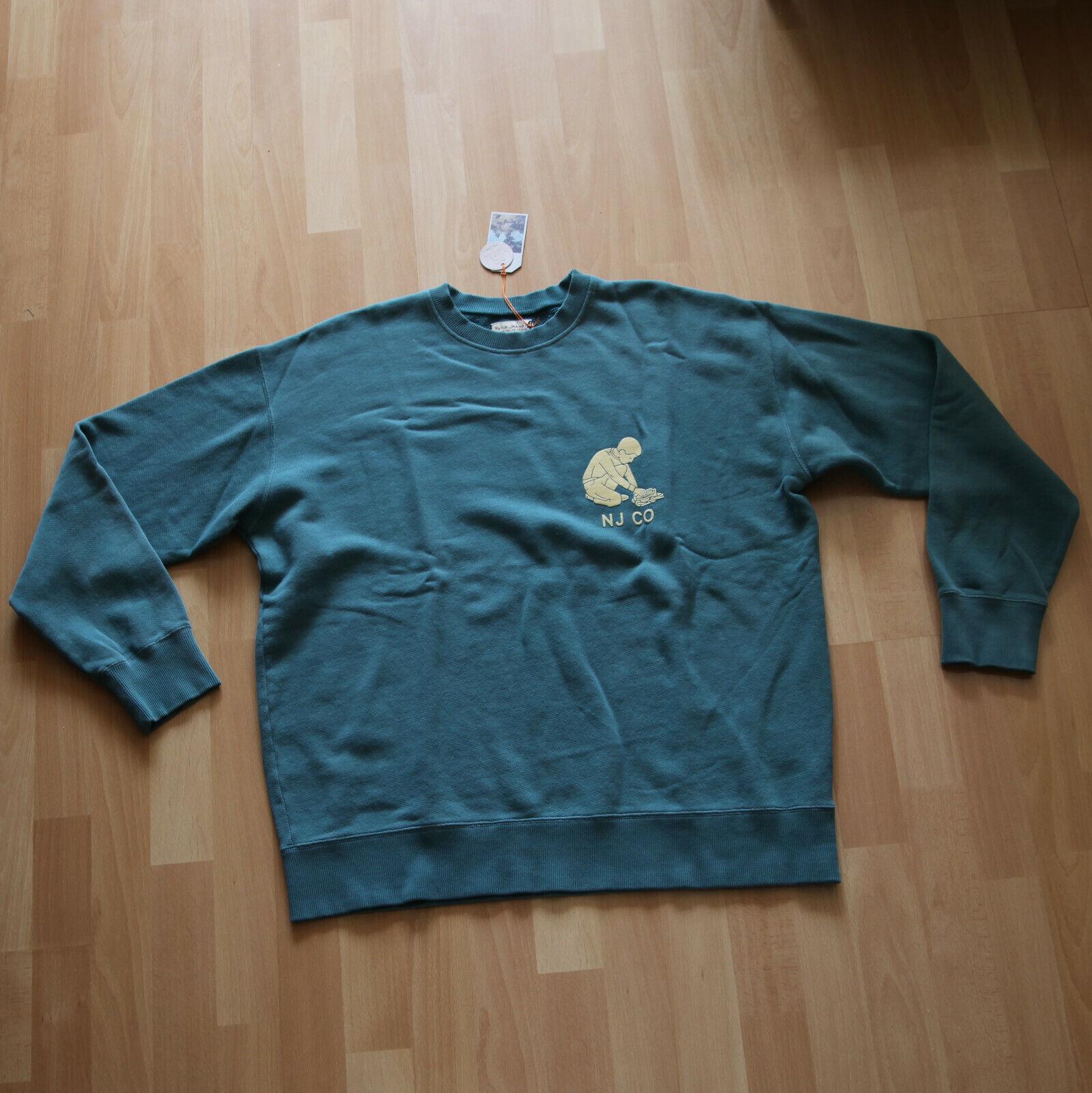 NEU  Nudie Jeans, schweißer,  schweißhemd,  Lukas Solid Logo Boy Kattegat M