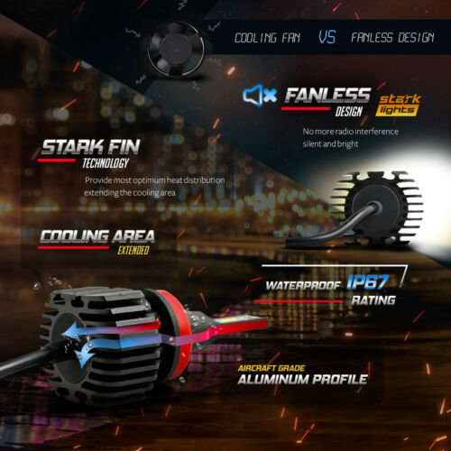 H11 Stark NS 80W 9000LM Perfect Beam Fanless LED Kit White Headlight Bulbs