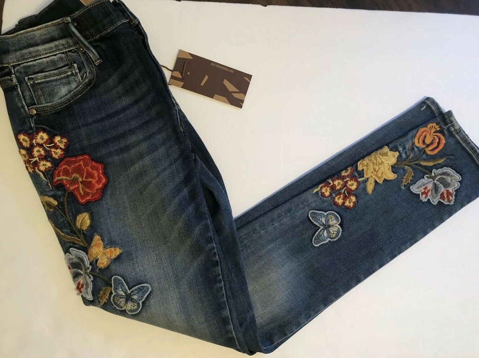 NWT DRIFTWOOD Sz 26 MARILYN EMBROIDERED SKINNY STRETCH JEANS blueE  122