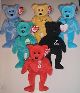 "5 TY Beanie Babies Asia-Pacific 2007 Exclusive 6 Bear Set 8/"" 20cm Rare KIA ORA"