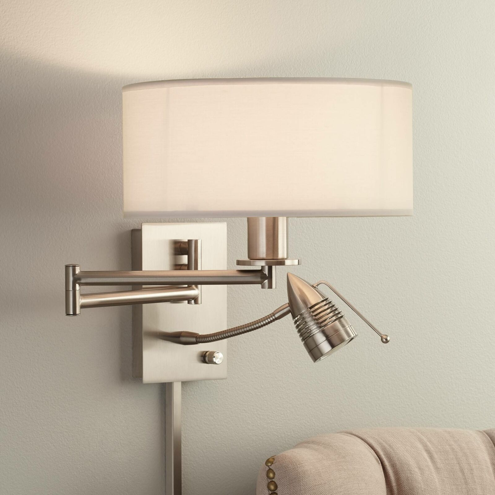 Modern Swing Arm Wall Lamp LED Nickel Plug-In Fixture Bedroom Bedside  Reading