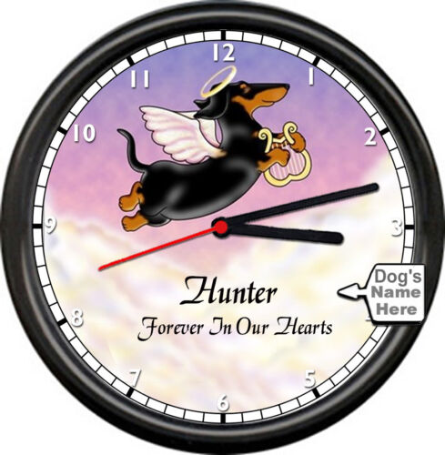 Personalized Dachshund Angel Memory Name Gift Cute Dog Lover Sign Wall Clock