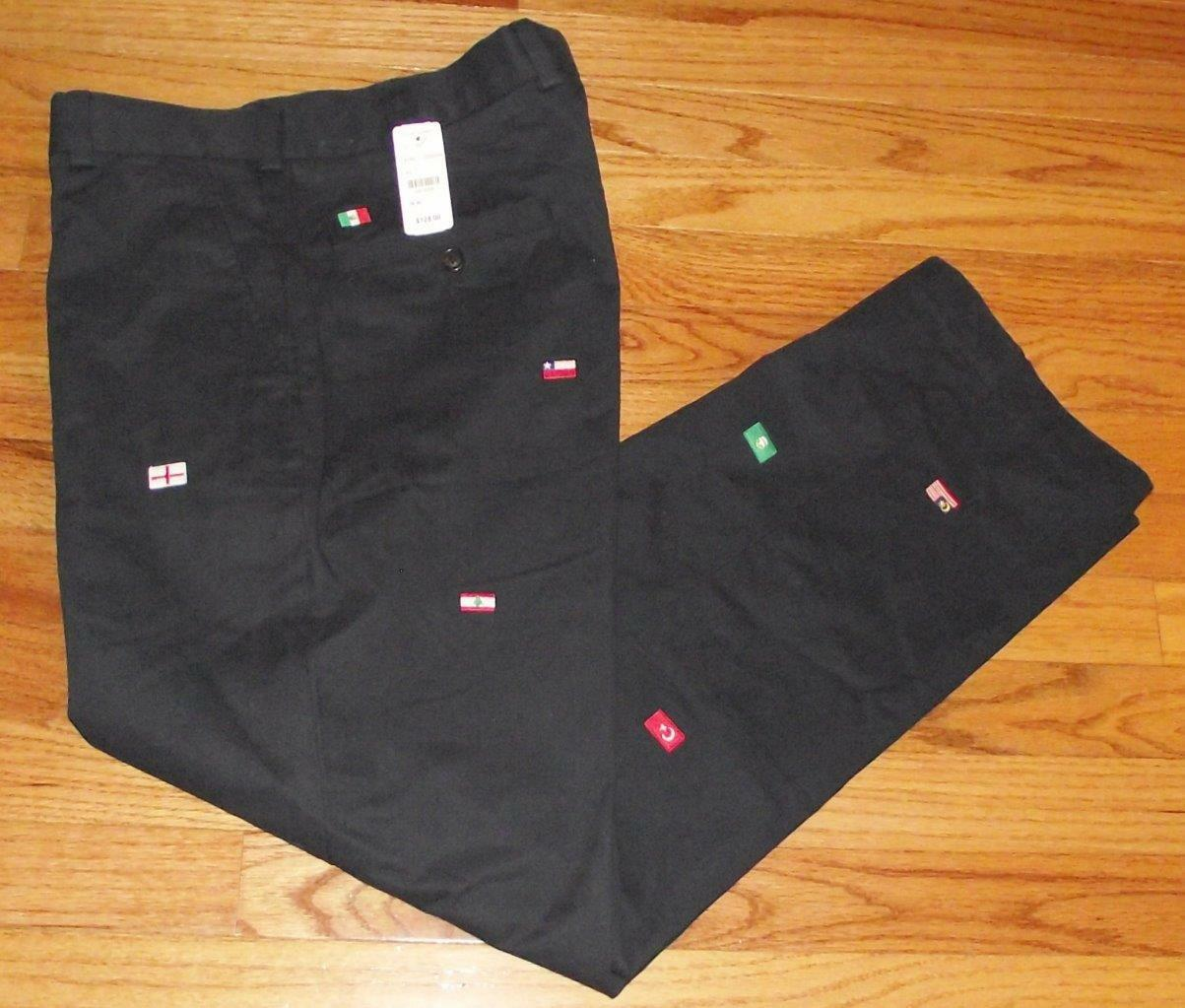 NWT Mens Brooks Bredhers Navy bluee Khakis Clark FLAGS WORLD Embroidered  3Z