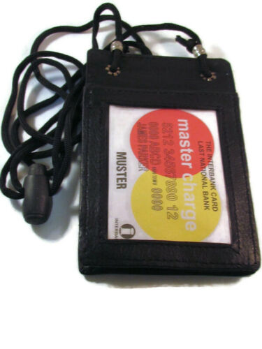 Details about  /JEWISH STAR OF DAVID BLACK LEATHER ID BADGE HOLDER POUCH with lanyard