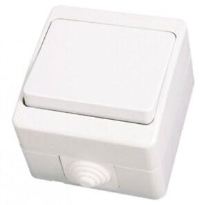 Gunsan-IP54-Schalter-Lichtschalter-Feuchtraum-Aufputz-Weiss