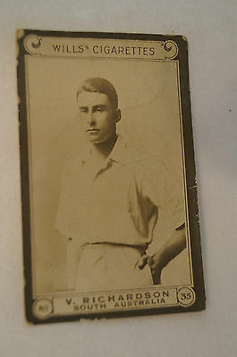 1926 Vintage Wills Cricket Card - Cricketers Series -V. Richardson - South Aust.