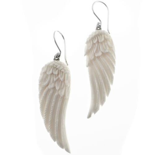 """1 5//8/"""" Handcrafted aigle ailes d/'ange Bison Os Argent Sterling 925 Boucles D/'oreilles"""