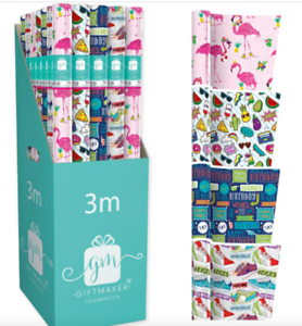 Adult Children Unisex Gift Wrapping Paper for Birthdays x 4 rolls