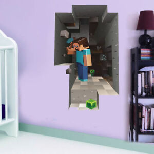 MINECRAFT-Wall-Decal-Kids-Large-Steve-Game-Room-Removable-Sticker