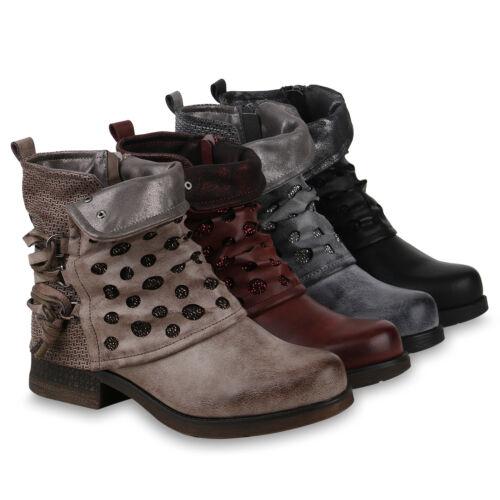 Damen Stiefeletten Biker Boots Modische Glitzer 823976 Schuhe