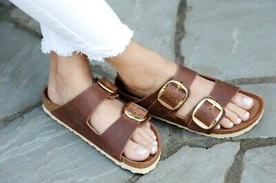 Details about Birkenstock Sandals MADRID BIG BUCKLE cognac brown waxy leather regular fit NEW