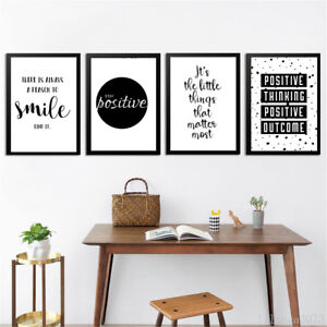 Image Is Loading Inspirational Quote Wall Art Canvas Poster Black White