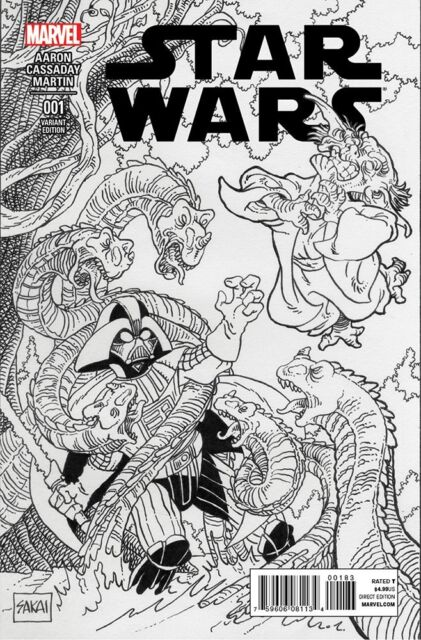 STAR WARS #1 Beach Ball EXCLUSIVE B&W Variant STAN SAKAI Marvel Comic 2015 Usagi