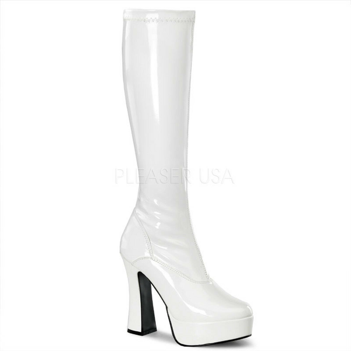 Pleaser ELECTRA-2000Z Platforms Exotic Dancing White Patent Mid Calf Boots