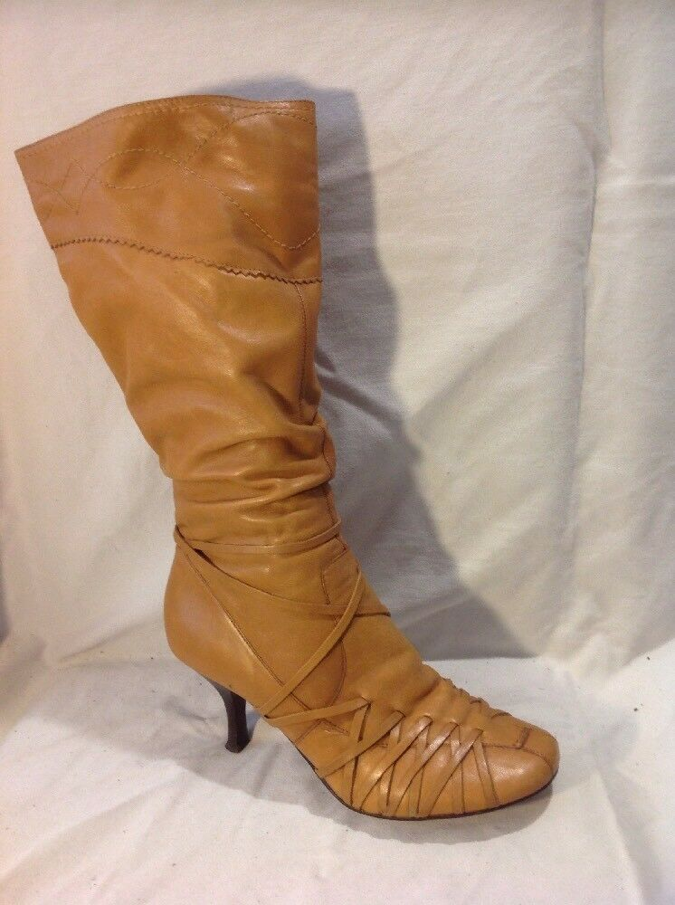 Qube Brown Mid Calf Leather Boots Size 39