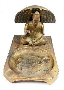 VTG-Brass-Bronze-Vintage-Ashtray-Cigarette-Match-Holder-Asian-Old-Man-Korea-RARE