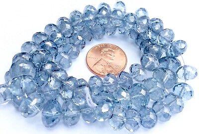 Trade Czech Crystal Rondelle Cut Cerulean Blue Bohemain Glass Beads