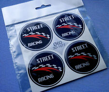 3D-1077) 4 St Street Embleme für Nabenkappen Felgendeckel 60mm Silikon Aufkleber