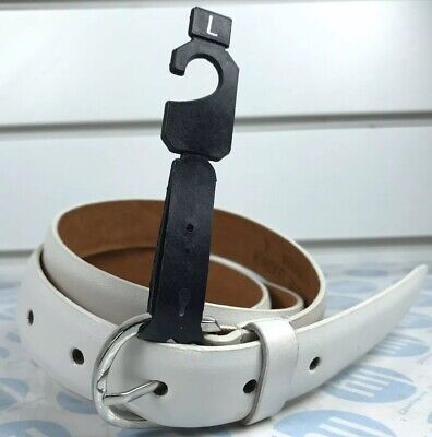 Skinny Leather Belt Ladies And Men's WhiteColour 22mm X 110cm Long Size Xl39-43""
