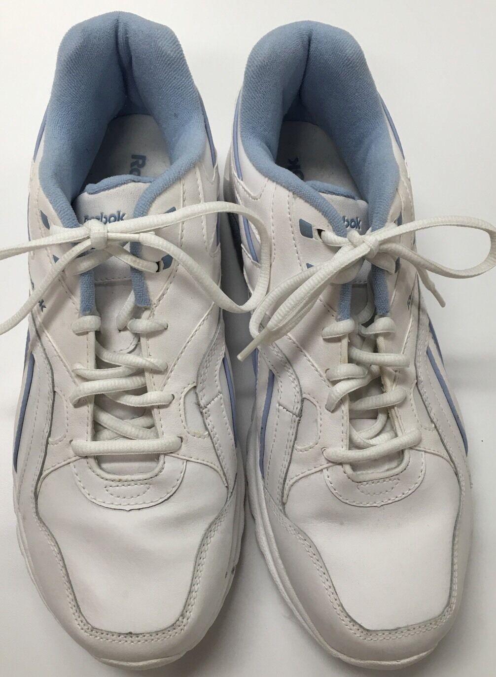 REEBOK ULTRALITE Ladies Size- 11  white Athletic Trim Shoes Sneakers Sky Blue Trim Athletic 853ab3