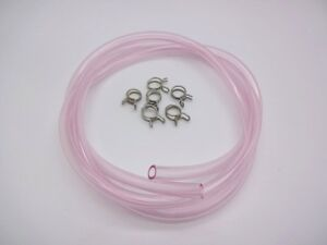 2m-Carburettor-Carb-Overflow-Vent-Hose-amp-Clips-Motorcycle-4mm-ID-Pipe-Pink