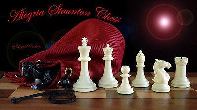 Legend Alegria Plastic Tournament Staunton Chess Set & storage bag Ivory & Black