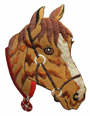 """4-1/2"""" Palomino Horse Head Embroidery Iron On Applique Patch"""