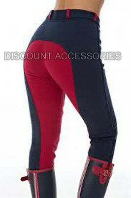 HORSE RIDING LADIES SOFT STRETCHY JODHPURS JODS JODPHURS  TWO TONE NAVY RED