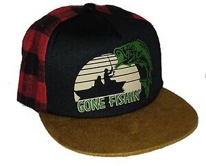 bea8cc9338525 Details about Kid's Gone Fishing Plaid Buffalo Check Snapback Mesh Trucker  Hat Cap Toddler
